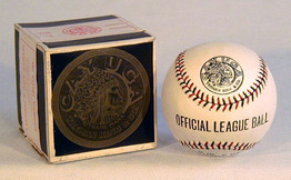 """1910's Red and Black Stitched """"Official League Ball"""" MINT in the Original Box... CAYUGA brand made by Treman, King and Company from Ithica, New York. Vintage baseballs from this era continue to rise in rarity, popularity and value. While these baseballs are typically found in less than excellent condition, this example is positively STUNNING! The baseball is bright white and flawless. Additionally, the box remains in exceptional condition and is complete with the original paper seal. Both the baseball and the box feature, in fine detail, the gorgeous Cayuga American Indian Chief logo."""