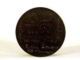 1936-37 Syracuse Stars AHL Championship Team Signed Hockey Puck