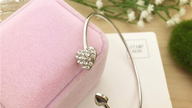 Adjustable Crystal Double Heart Cuff Opening Bangle Bracelet