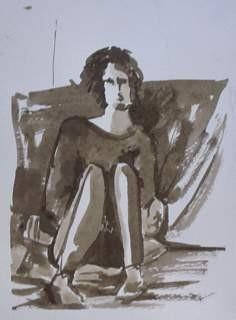 Girl sitting monochrome