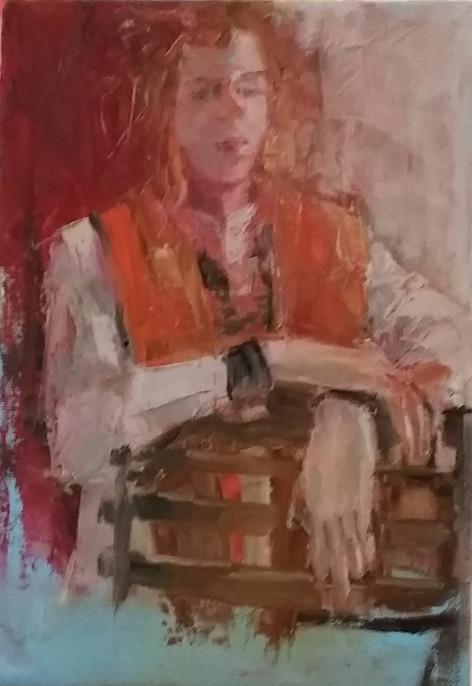 Girl with orange scarf