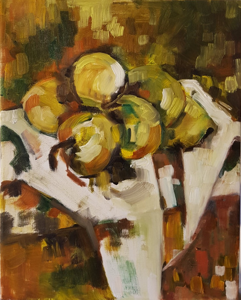 Lemons on white cloth - abstraction 2