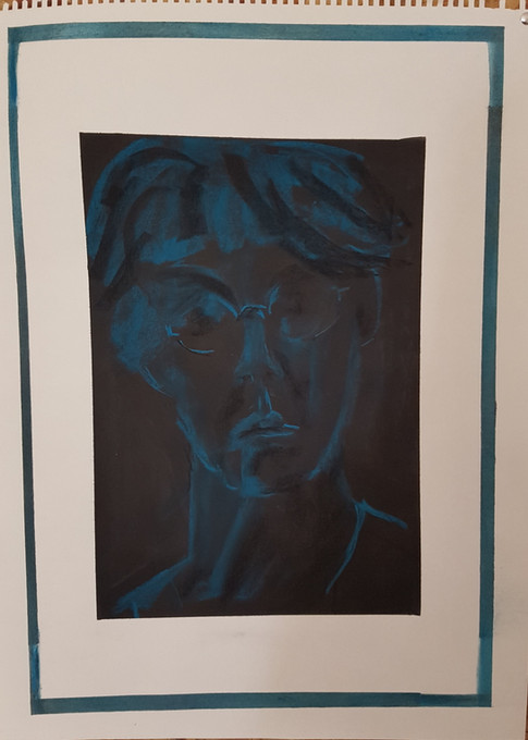 Selfportrait in blue chalk on charcoaled paper