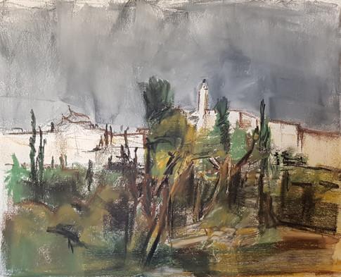 It will rain Walls of the old city toward Migdal David