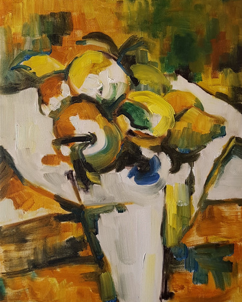 Lemons on white cloth - abstraction 1