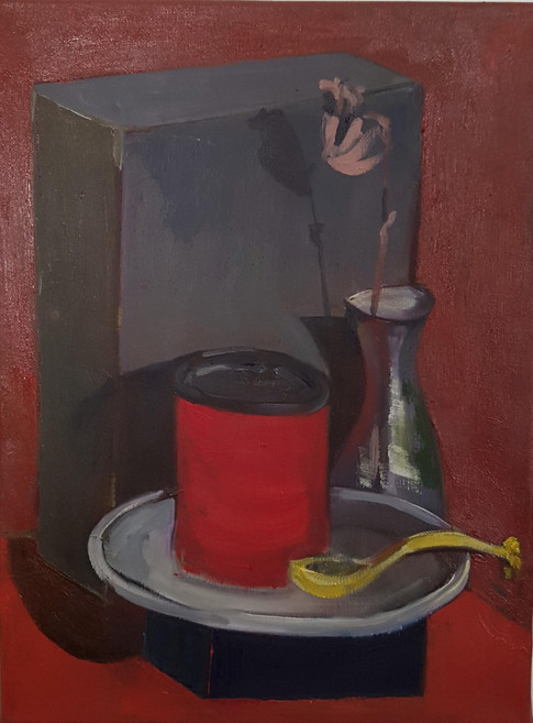 Still life  with red can