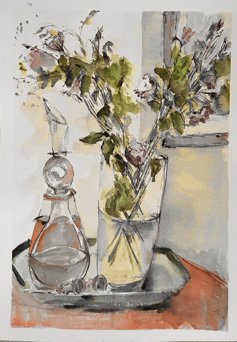 Flowers and two decanters