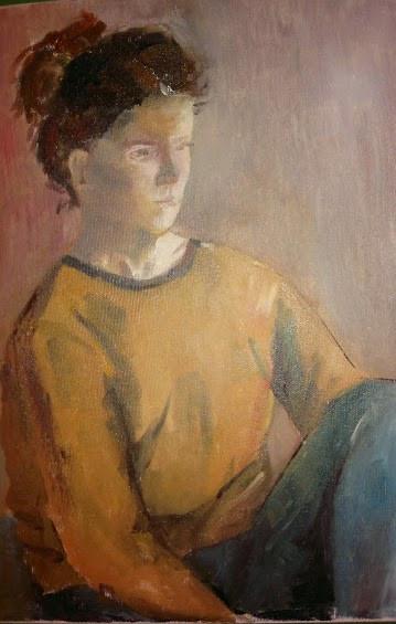 Girl in ochre sweater