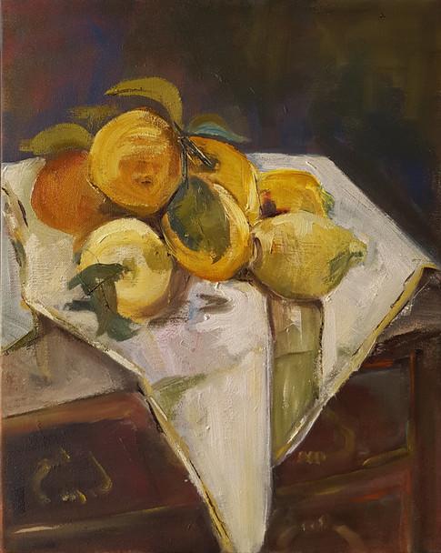 Lemons on white cloth 1