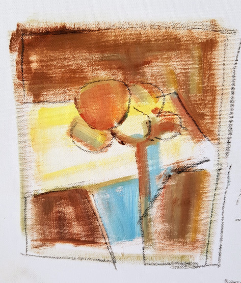 Lemons on white cloth sketch for abstraction