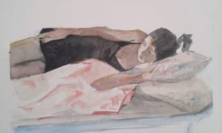 Girl sleeping with pillows