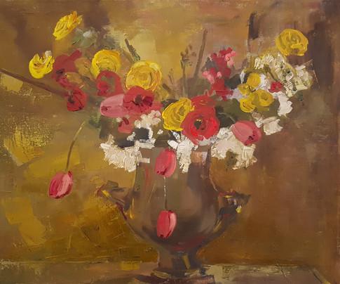 Flowers in a brass vase