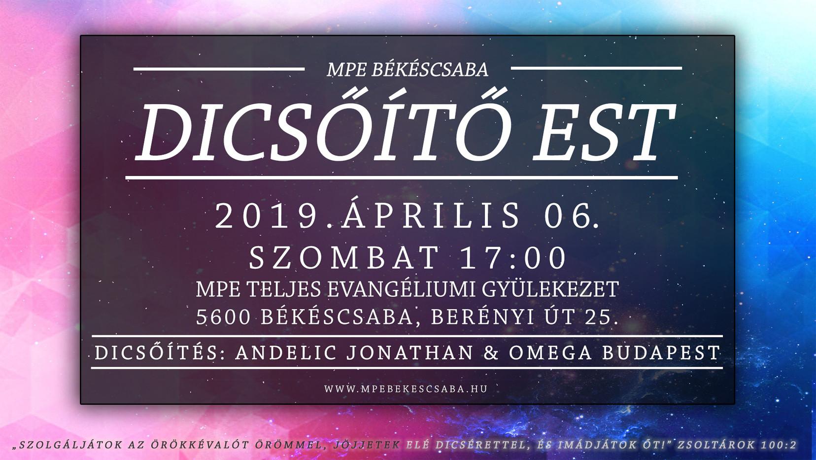 Dicsőítő est 2019.04.06