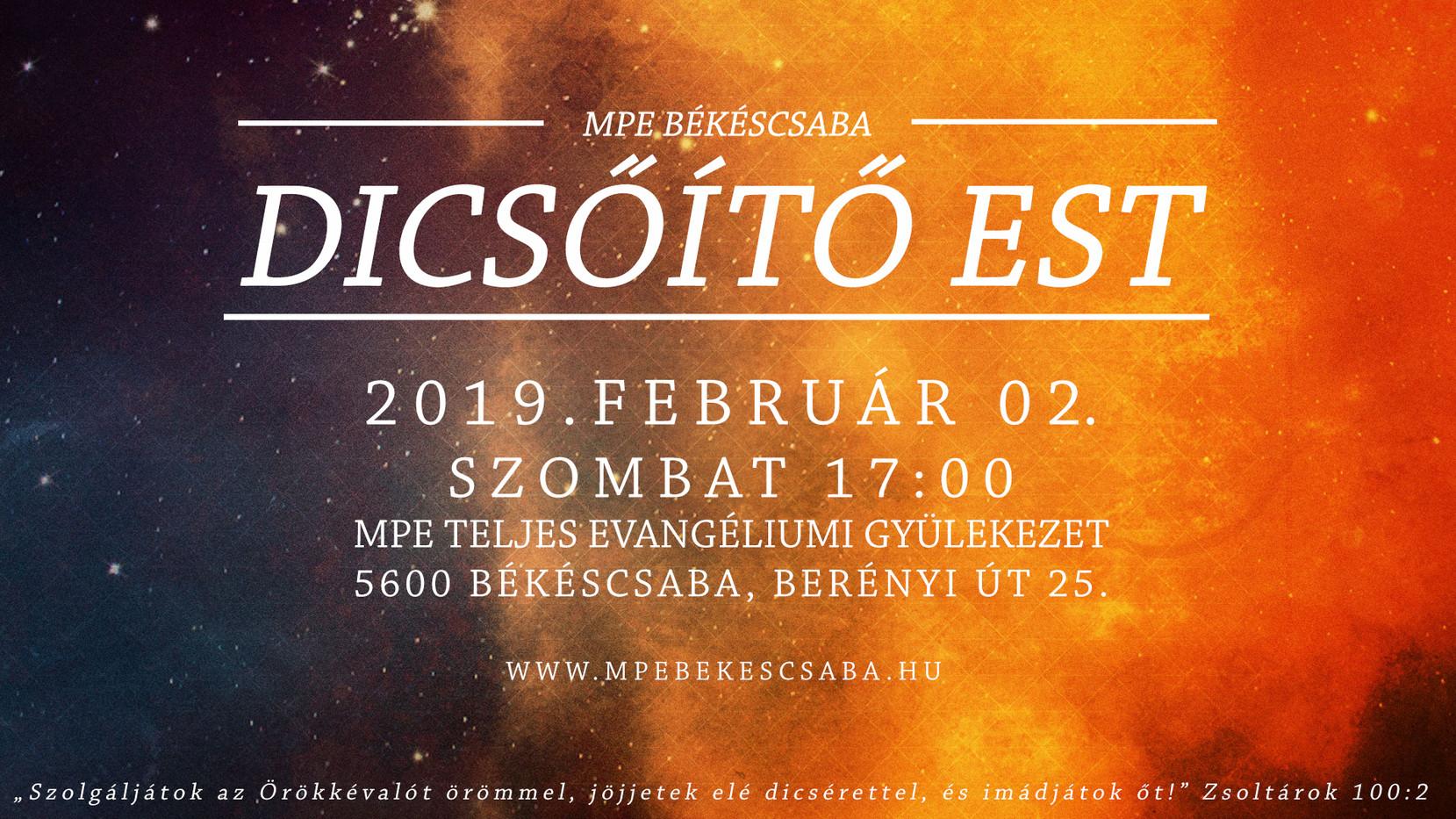 Dicsőítő est 2019.02.02