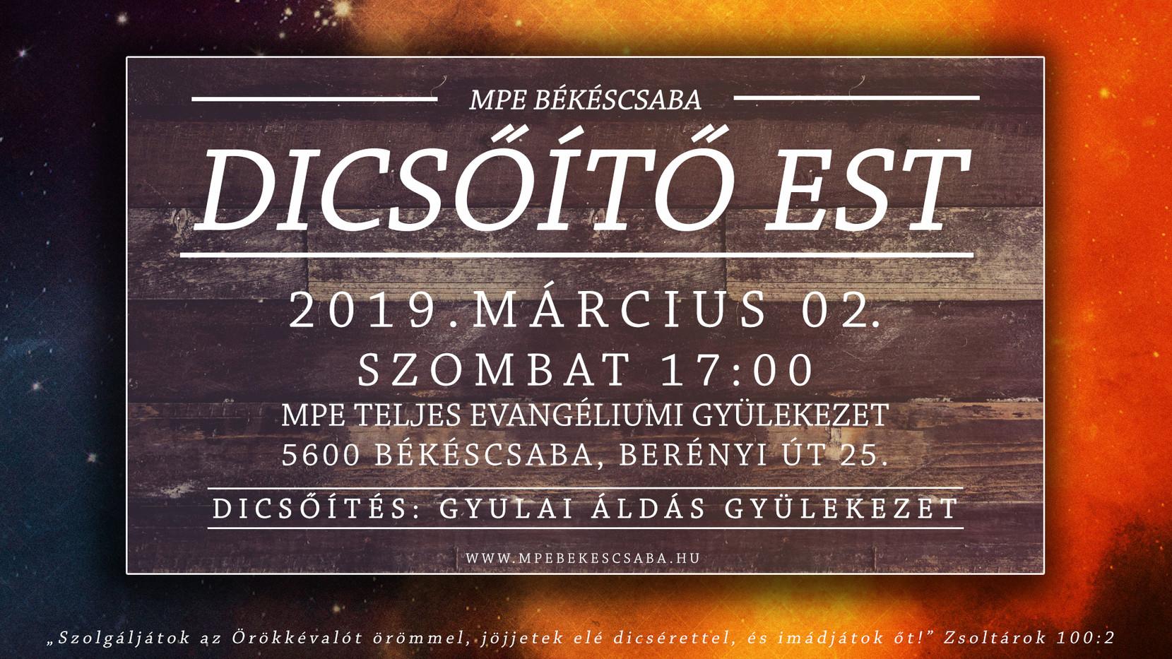 Dicsőítő est 2019.03.02