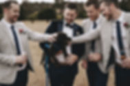 groomsmen with dog