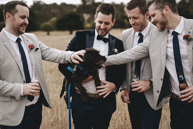 groomsmen with dog