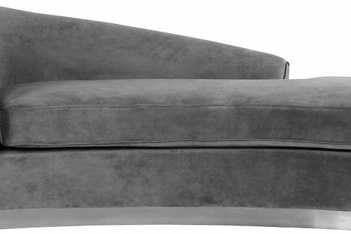 Julian Velvet Chaise Lounge - Grey