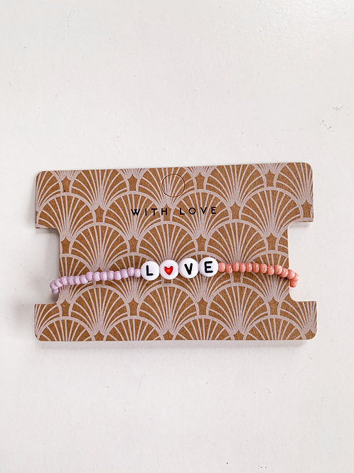 Love armbandje   Lila & roze