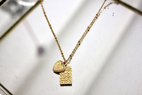 Heart and panther tag kettinkje   Goud