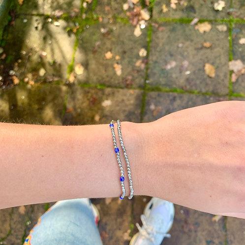 Silver and blue armbandje