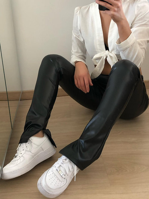 Kylie leather split flared pants