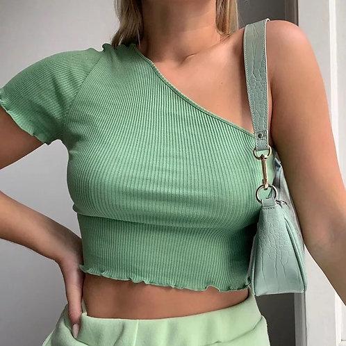 Romée one shoulder top | Groen