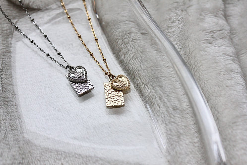 Heart and panther tag kettinkje | Zilver