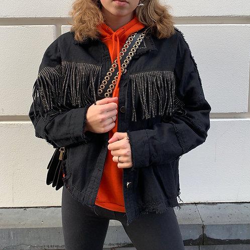 Sophie glitter fringe jacket | Zwart