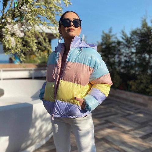 kanye oversized rainbow jacket