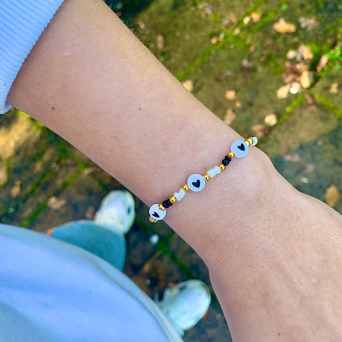 Beaded heart armband | Zwart