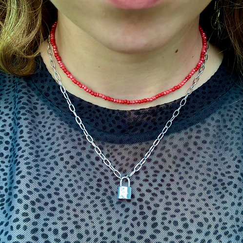 Basic pink and red choker