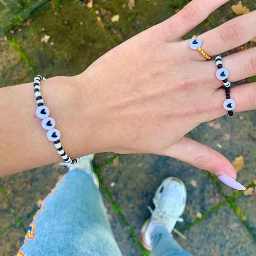 Black-white triple love armbandje | Zwart