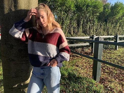 Zoë color block sweater   Blauw, grijs, rood en roze