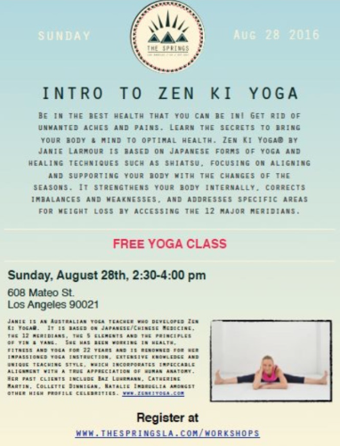 Zen Ki Yoga W'shop Downtown LA, USA