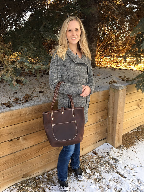 Distressed Dark Brown Soft Leather Tote