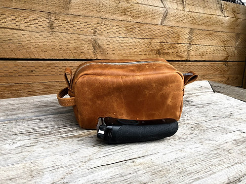 Large Toffee Distressed Leather  Shaving Kit