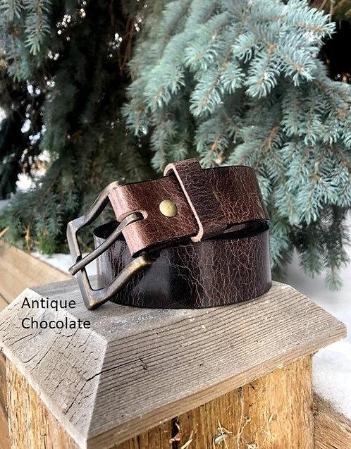 Antique Chocolate Leather Belt