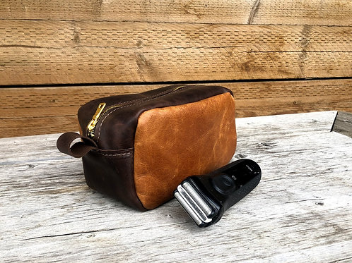 Small Distressed Toffee-Dark Brown Shaving Kit