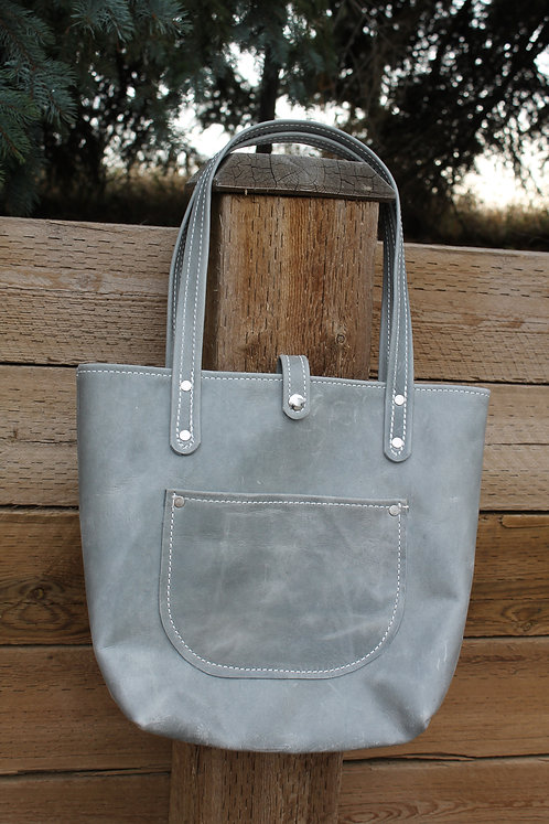 Distressed Grey Soft Leather Tote