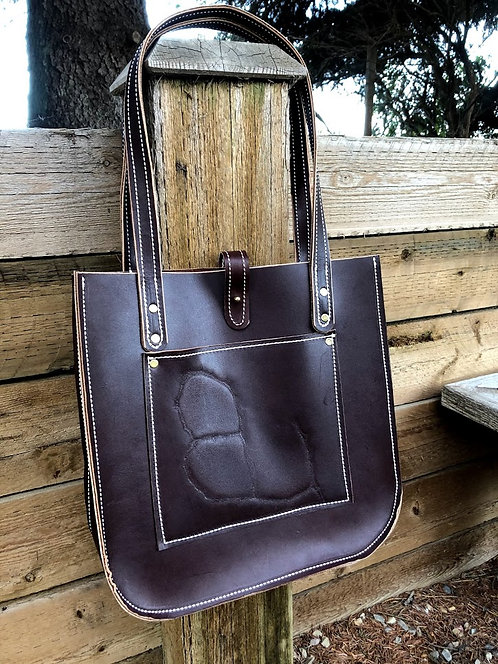 Dark Brown Firm Tote with Brand