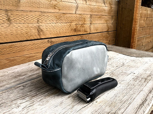 Small Distressed Grey-Blue Shaving Kit