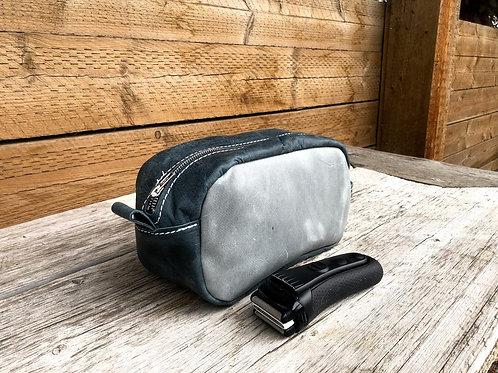 Small Distressed Grey-Blue Shaving Kit
