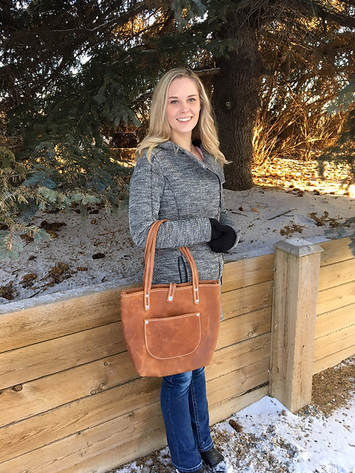 Distressed Toffee Soft Leather Tote