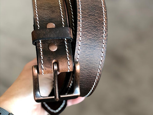 Leather Belts with Edge Stitching