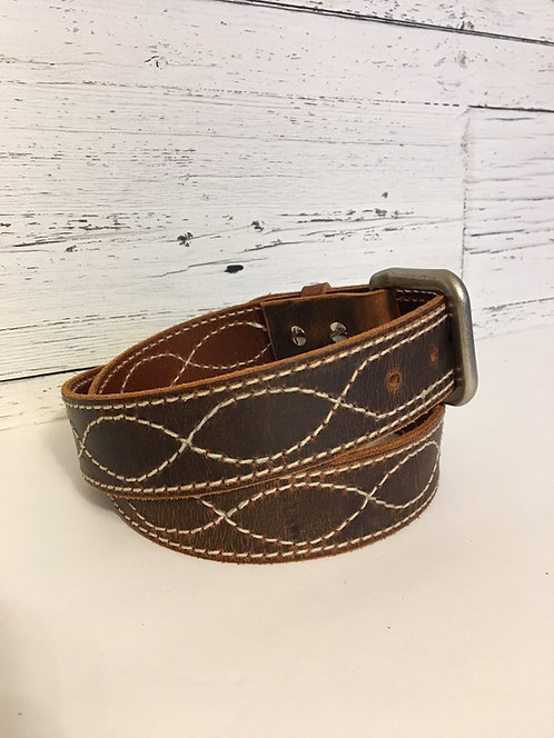 Leather Belts with Stitching