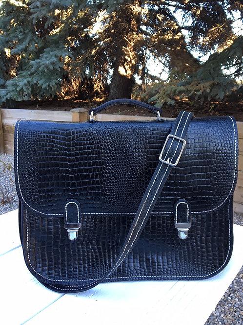 Black Embossed Alligator Leather Messenger Bag