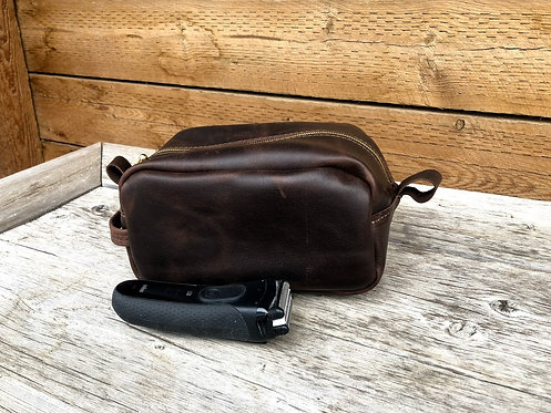 Large Dark Brown Distressed Shaving Kit