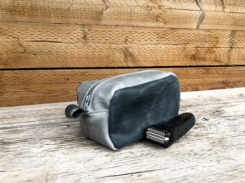Small Distressed Denim-Grey Shaving Kit