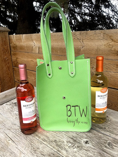 Green Wine Tote -BTW bring the wine